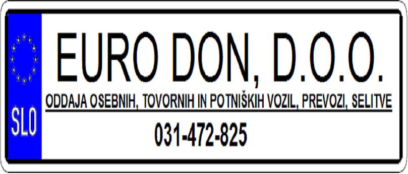 Euro Don (najem osebnih, tovornih in potniških vozil; prevozi in selitve po vsej Sloveniji) gallery photo no.1