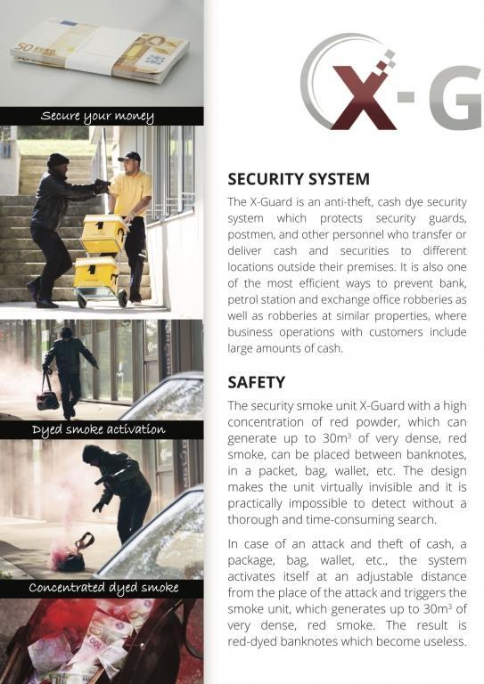 Varnostni sistemi za obarvanje in varovanje denarja, elektrohemijska zaštita novca, staining cash system, XGUARD, dimni bankovec gallery photo no.8