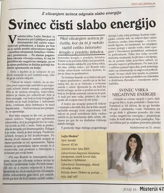 Vedeževanje Ljubljana, čiščenje negativne energije s svincem, vedeževalka Lejla Brezovica pri Ljubljani gallery photo no.8
